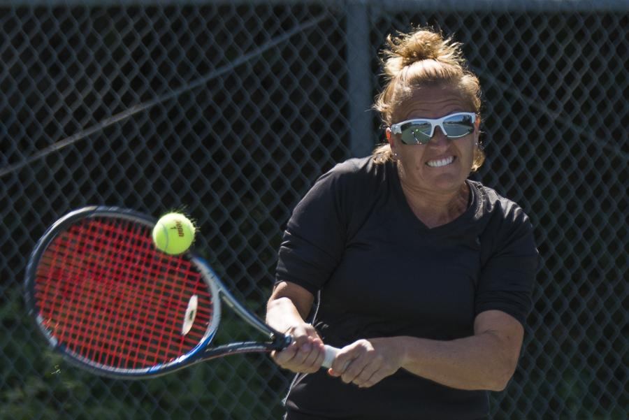 Teresa+Downey+returns+a+serve+in+a+match+against+Antelope+Valley+Tuesday%2C+March+18%2C+at+Pershing+Park+in+Santa+Barbara.++Downey+led+the+Vaqueros+in+the+regular+season%2C+going+undefeated+in+Western+State+Conference+play.