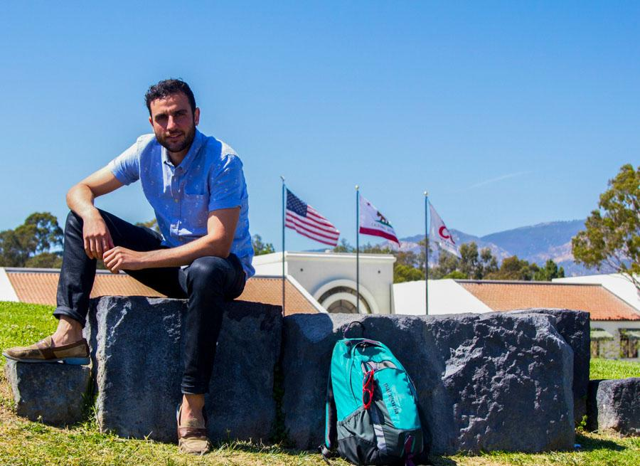 Gady Shemesh enjoys a small break from classes on West Campus at City College. Shemesh, who was born in California, served in the Israeli Army for more than a year.
