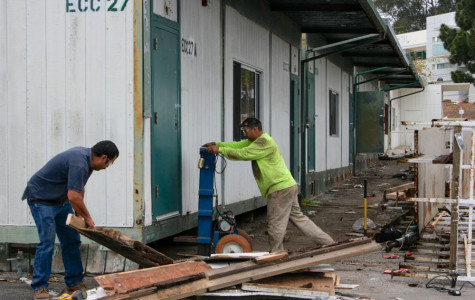 Pedro Zaragoza (left) and Antonio Piñela work on removing a portion of the East campus portables on Monday, March 24, at Santa Barbara City College. The portable buildings will be removed in phases and the newly cleared area will soon be home to drought tolerant plants.