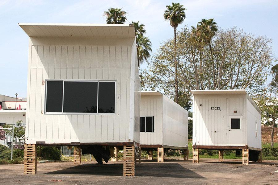 East campus portables are raised and awaiting removal, on Friday, March 28, at Santa Barbara City College. The portable buildings will be removed in phases and the newly cleared area will soon be home to drought tolerant plants.