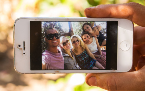 Members of City College's Beyond Selfies club, Marcus Tomlinson, (from left) Jocelyn Stradiotto, Devin Mayhew, Christine Bagwell and Sydney Campbell take a photo of themselves on Monday, April 7, in the Lifescape Garden on East Campus of City College in Santa Barbara. The club was formed in February 2014 and organizes fundraising methods for ambitious students.