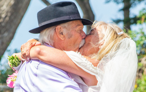 Mike Wheeler, 80, and Gail Shaughnessy share their ceremonial kiss on Saturday, April 19. Their wedding ceremony was held at Shoreline Park.