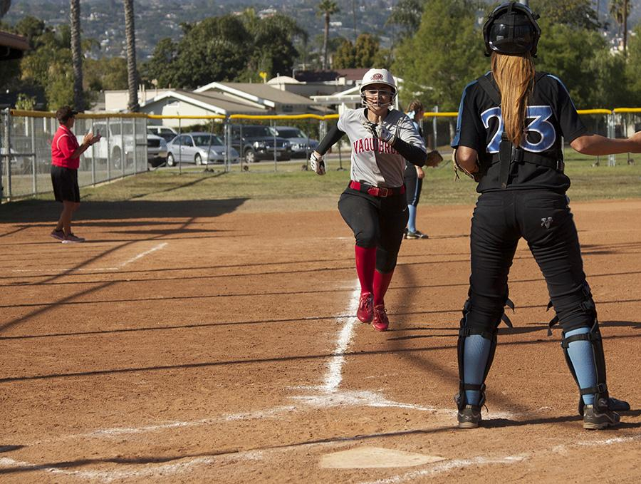 Brianna Portese (No. 7) rounds third base and heads home against Moorpark College on Tuesday, April 22, at Pershing Park. She went on to score and the Vaqueros won the game against Moorpark, 7-0.