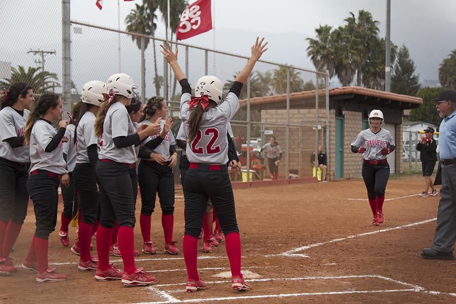 Brianna Portese (No. 7) rounds third base and heads for her teammates after hitting a 2-run homerun in the third inning Thursday, April 17, at Pershing Park. Portese connected for her second homerun of the season as the Vaqueros won the game against Oxnard College, 10-2.