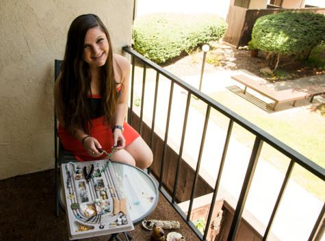 City College student Jenna Bracchitta works on her hand made jewelry from her home, Thursday, May 1, 2014, in Santa Barbara (Calif.). Besides having her own Jewelry business, Bracchitta has a full time job and is enrolled at City College.