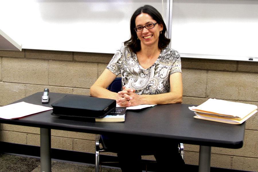 City College English Professor Dr. Kim Monda, takes a small break between her classes in Santa Barbara, Calif. on May 1.
