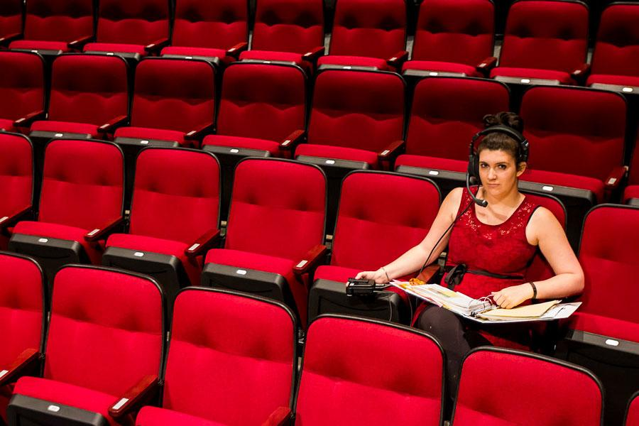 City College theater student, Marion Pugliesi, 21, visits the Garvin Theatre on Wednesday, April 30, 2014, at City College in Santa Barbara, Calif. The Corsica native is studying to become a stage manager and will continue her studies at California Institute of the Arts in the fall.