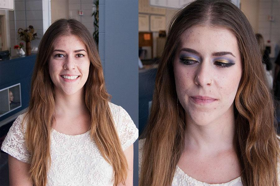 Maria Cesari, Channels reporter, at the Santa Barbara City College Cosmetology Academy on Goleta. Cesari had her makeup done by esthetician student and licensed Cosmetologist Michelle Joyce. Joyce also performed a facial on Cesari, with help from Instructor Potjanee Rios.