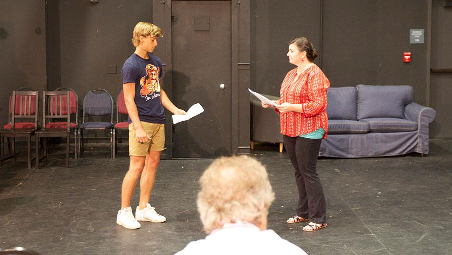 Julius+Martin+performs+his+scene+with+Mahealani+Ciabattoni+for+Michael+Gros%2C+auditioning+for+the+student+showcase+production+Ten+Red+Kings%2C+on+Tuesday%2C+Sept.+9%2C+in+the+Jurkowitz+theatre+at+City+College.