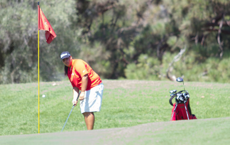 Saralisa Ortega battles the heat in the Western State Conference No. 2 on Monday, Sept. 15, at the Santa Barbara Municipal Golf Course. The Lady Vaqueros finished second to College of the Canyons. 'I didn't play at my best today, I didn't know how to handle the heat, and my putting wasn't on top,' said Ortega.