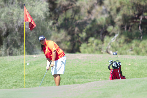 Saralisa Ortega battles the heat in the Western State Conference No. 2 on Monday, Sept. 15, at the Santa Barbara Municipal Golf Course. The Lady Vaqueros finished second to College of the Canyons.