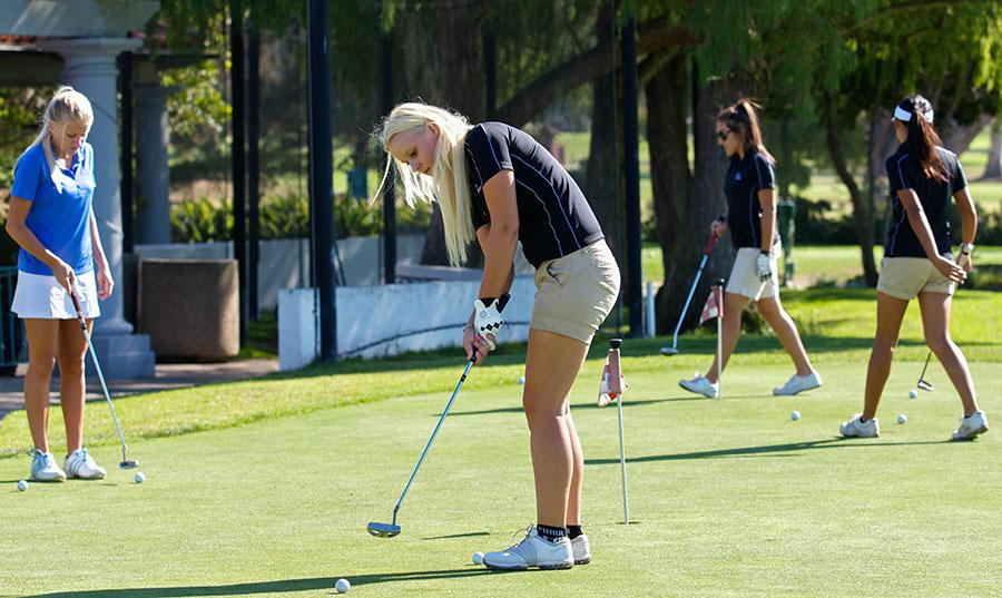 From left, Emilie Arnoldi, Sara Pettersson, Rebecca Valice and Tiffany Huang work on their putting skills before an 18 hole practice run, Wednesday, Sept. 10 at the Santa Barbara Municipal Golf Course. The lady Vaquero golf team is hosting the Western State Conference No. 2 on Monday, Sept. 15.