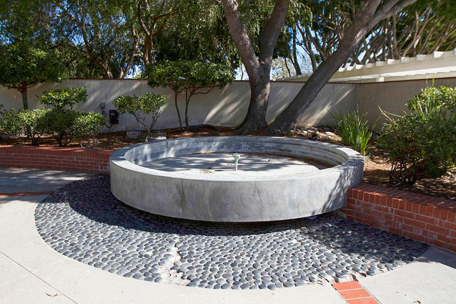 The fountain outside of the Student Services Building on City Colleges east campus is completely turned off, Tuesday, Sept. 16, in Santa Barbara. The school saved 25,000 gallons of water in two months just from transforming the fountain into a planter.