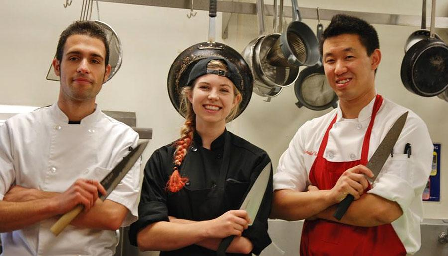 City College culinary students Brice Parlant, Sarah Parker, and Ronald Chang face-off in the local cooking show 'The INN Crowd' with Chef Budi Kazali, premiering at 10 p.m. Saturday, Sept. 20 on KEYT3. Photo courtesy of 'The INN Crowd' (https://www.facebook.com/TheINNCrowd).