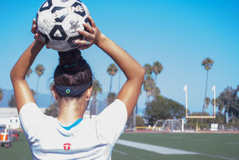 Vaquero soccer player Mackenzie Rios and teammates wear the Triax headbands, a new method being used at City College to track head impact data and flag the coach on forceful impacts, Monday, Sept. 15, at La Playa Stadium. The headbands are being worn by Vaquero's football and soccer teams.