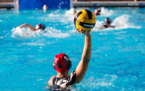Vaquero's goalie Autumn Lovett (No. 1) throws the ball back to her fellow teammates after a block in the beginning of City College's game against LA Valley at San Marcos High School in Santa Barbara, California. The Vaqueros went on to beat the Monarchs 12-10.