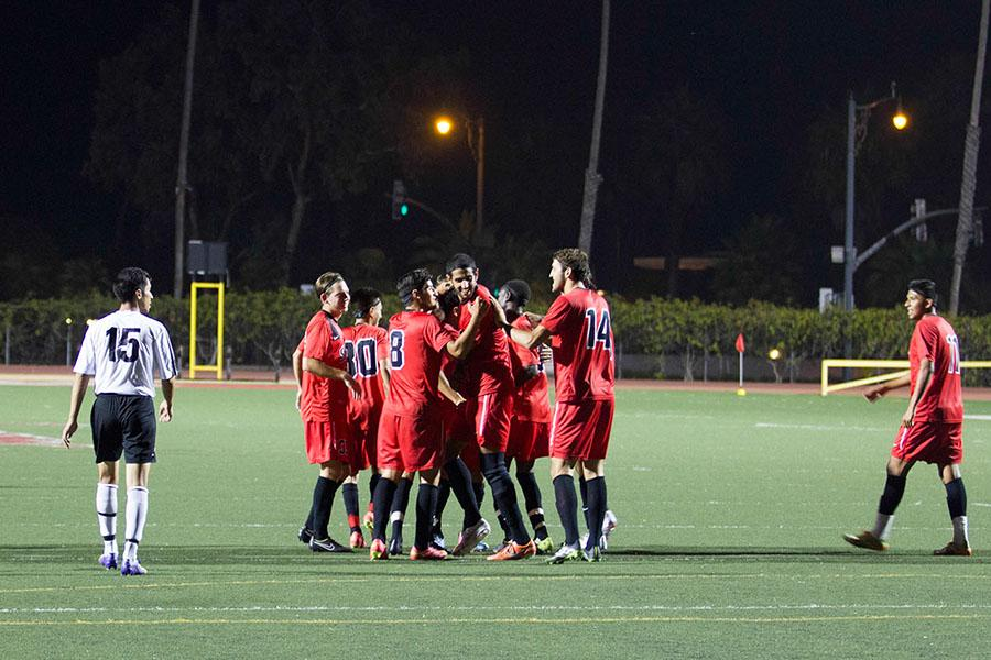 City College's men's soccer team celebrates their second goal, scored by Mehdi Badache (No. 6) on Tuesday, Sept. 30, at La Playa Stadium. The Vaquero's beat Glendale College 5-0.