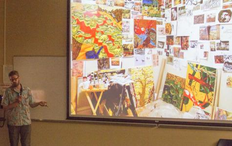 "Carl Baratta shares his works of art in his lecture on Friday, Oct. 24, in Santa Barbara, Calif. as part of the ""Art Lecture Series,"" presented by the Atkinson Gallery. The abstract artist shares his studio space where collaged images scatter the walls. ""This is like the inside of my brain,"" said Baratta."