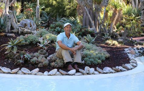 Corey Welles, the plant healthcare coordinator for Lotusland, is now leading the grounds crew for City College sustainable horticulture, Monday, Oct. 6 at Lotusland in Montecito. 'Healthy plants begin with healthy soil,' said Welles.
