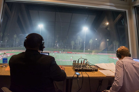 Broadcaster Ryan Graff (left), former Director of Broadcasting at Occidental College, and color analyst Sam Feilding, look out over La Playa Stadium during a live broadcast of a Vaquero's men's soccer game in Santa Barbara, Calif. Graff joined the Santa Barbara City College Athletics Department for the 2014-2015 school year to be the lead play-by-play voice of the Vaqueros and Assistant Sports Information Specialist.