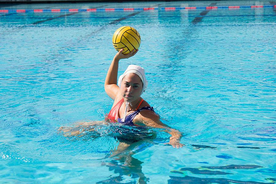Rocio Fesembeck is a 19-year-old water polo star from Argentina who plays for our City College Vaqueros, Monday, Nov. 3, at San Marcos High School in Goleta. Fesembeck played a season of water polo in Argentina and now leads the Vaqueros in points and goals this season.