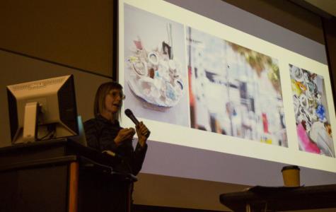 Rebecca Bollinger lectures at the closing of Santa Barbara City College's