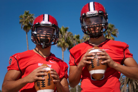 City College quarterback Brandon Edwards (right) and running back Cedric Cooper at Leadbetter Beach, Wednesday, Nov. 5, in Santa Barbara, Calif. The two athletes traveled from Seattle, Wash. to Santa Barbara to attend City College and have helped lead the team to seven consecutive wins and its first bowl game birth in 18 years.