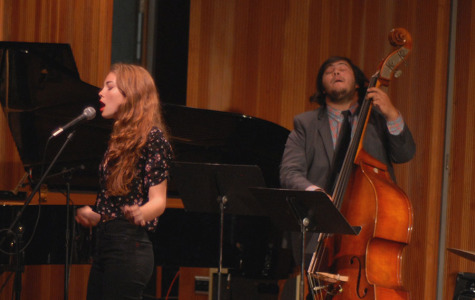 "The Anna Casper Quartet played one song during their set on Saturday, Nov. 1, performing at the Fall Chamber Jazz Concert in the City College Fé Bland Forum. Vocalist Anna Casper sings ""Desafinado"" while Sebastian Martinez accompanies her on the bass."