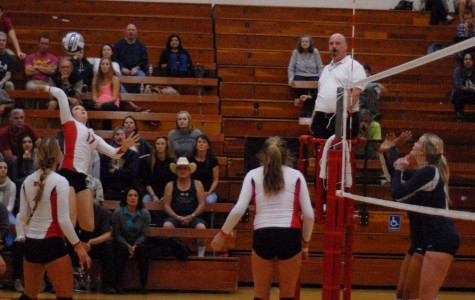 Santa Barbara City College's Makinna Malady (No. 17) spikes the ball for a point against Orange Coast College in the first round of the playoffs on Tuesday, November 25, 2014 in Santa Barbara Calif. The Vaqueros lost in the fifth set after winning the first two.