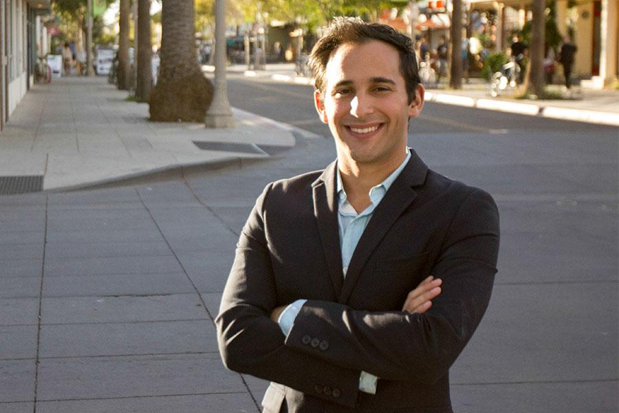 City College's new Trustee Jonathan Abboud, Saturday, Nov. 22, in Isla Vista. As the District 6 representative for the City College Board of Trustees, Abboud represents all residents of IV, UCSB, and Hope Ranch.