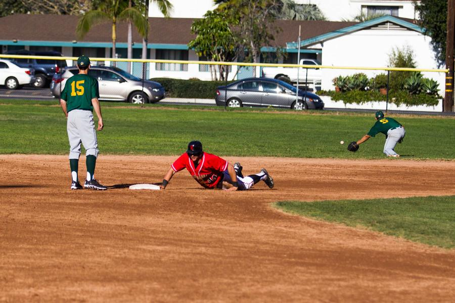 Derek Rustich (No. 44) slides into second base after hitting a double, Saturday, Jan. 31, at Pershing Park in Santa Barbara. The Vaqueros went on to win this game to close out the two-day series, winning all three games versus Napa.