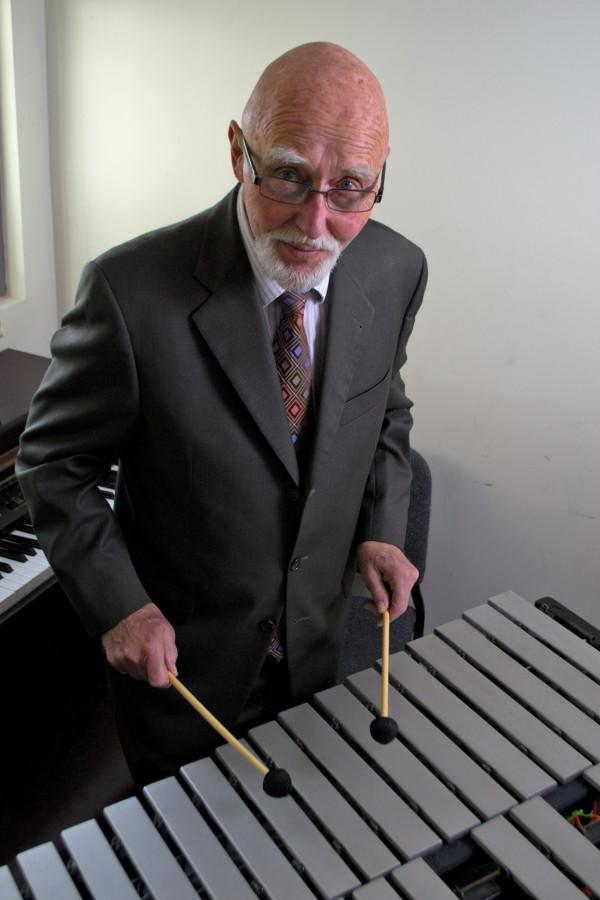 Dr. Charles Wood, a part time jazz teacher for City College, is captured playing the Vibraphone, an instrument he claims to have mastered in under two years, Wednesday, Feb. 20, in a practice room in the Drama/Music Building located on West Campus. Wood has been playing instruments and teaching musical arts for over 50 years.
