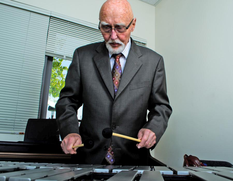 Dr. Charles Wood, a part-time jazz teacher for City College, is captured playing the Vibraphone, an instrument he claims to have mastered in under two years, Wednesday, Feb. 20, in a practice room in the Drama and Music Building on West Campus. Wood has been playing instruments and teaching musical arts for over 50 years.