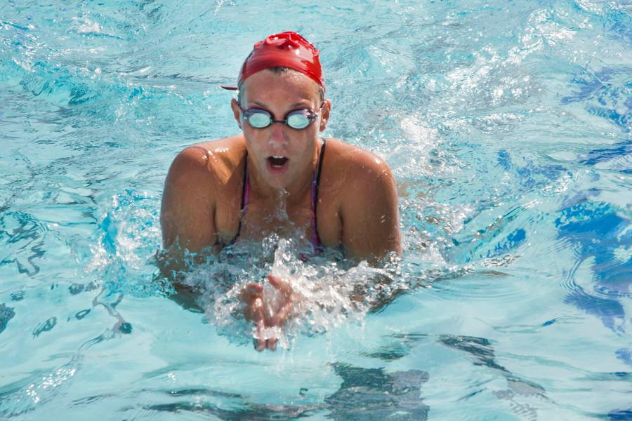 City College sophomore Autumn Lovett swims the breaststroke during practice, Friday, Feb. 6, at San Marcos High School in Goleta. With pre-season training and promising new recruits, the future looks bright for the Vaqueros.