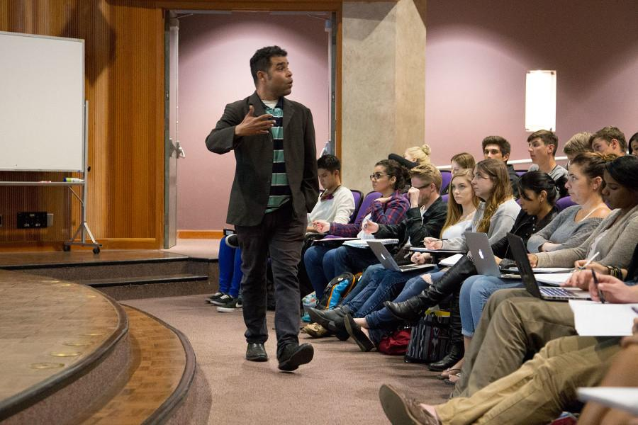 Professor Daraka Larimore-Hall teaching his Sociology 101 class on City College's West Campus in the BC Forum, Wednesday, Jan. 28, 2015 in Santa Barbara, Calif. 'Everyday I see students being brave and thinking outside their boxes,' said Larimore-Hall.