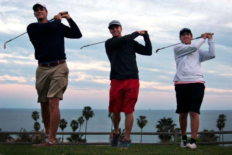 City College golfers, (from left) Joakim Flink, Brett Patton and Manny Manzone prepare for the upcoming season, Thursday, Feb. 5, on West Campus at City College. The City College golfers are swinging for state championships and have their first game on Monday at Valencia City College.