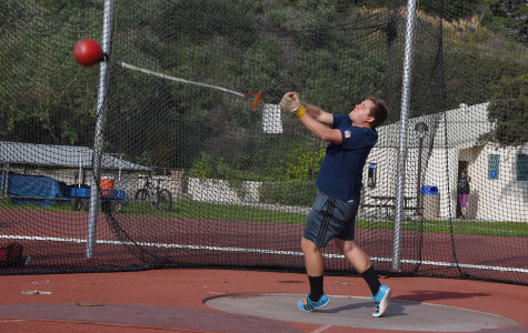 City College returning thrower Phillip Skopnik practices the hammer throw on Friday, Jan. 30, at La Playa Stadium in Santa Barbara. The first track meet is Friday, Feb. 6 at Cuesta College.
