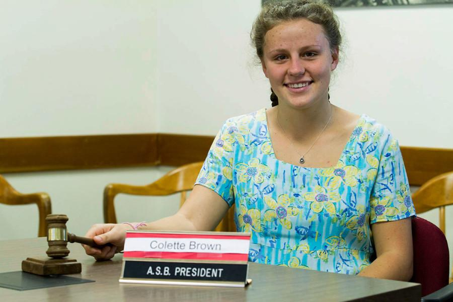 Colette Brown, new president of the Associated Student Senate, in her office Friday, March 6, at City College in Santa Barbara.