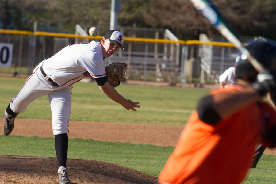 City College right-handed pitcher Kit Larson (No.18) throws a fast ball in the second inning at a home match against Ventura College, Thursday, March 12, at Pershing Park in Santa Barbara. The Vaqueros led the second inning 2-0 and finished the inning with five runs brining the score to 5-0 and ended the game with an overall score of 12-1. The next home game will take place Saturday, March 14.