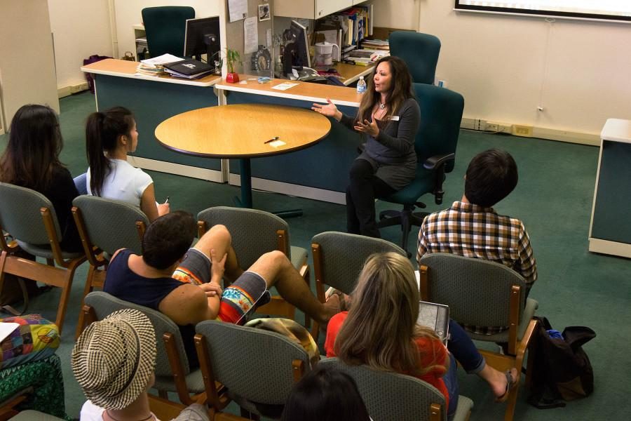 "City College career counselor, Cami Vignoe, gives a talk on her career path and resources for employment, Wednesday, March 18, in the Schall Career Center at City College. This talk was the third installment of the Psychology Club's ""Career Exploration"" meetings."