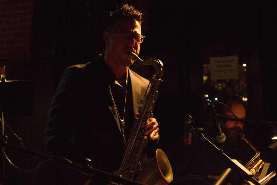 """Justin Claveria plays his saxophone along with the jazz band """"Monday Madness"""" Monday, March 9, at the Soho Restaurant and Music Club in Santa Barbara, Calif. """"The thing about Justin is that he practice everything he plays. That is why he makes it seems so easy,"""" said the composer Isaac Jenkins."""