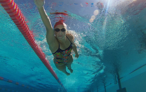 City College swimmer, Rachelle Visser, swims freestyle on Wednesday, March 4, at San Marcos High School in Goleta, Calif. Visser moved to Santa Barbara from the Netherlands and is one of the top swimmers on the women's swimming team.