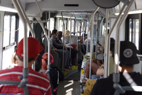More than three-dozen passengers are comfortably seated on the articulated bus with plenty of seats available for more riders, Monday, March 9, in Goleta. The articulated buses are 40 percent longer and are being used to alleviate overcrowding on the 15X Route between City College, UCSB, and Isla Vista.