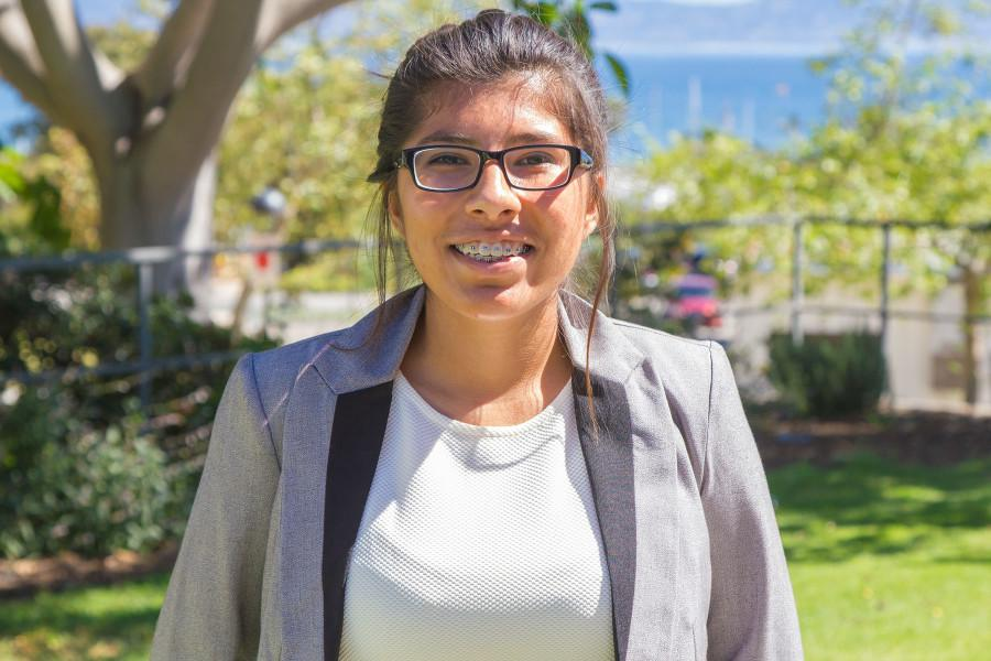 "Running for Student Advocate is Maggie Cabrera, a second-year sociology major and president for the Hands 4 Others club, Friday, March 13, on City College's East Campus in Santa Barbara. ""I want to build community here, because I feel it's important to be inclusive,"" says Cabrera."