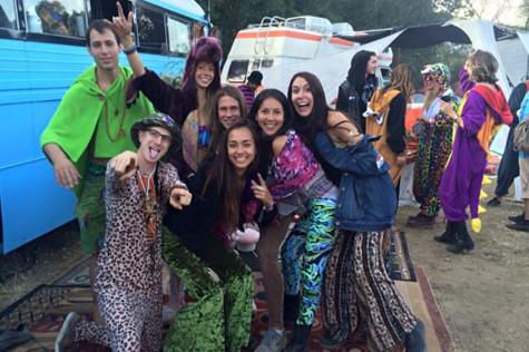 City College students and alumnus gather together dressed in funky fashion for Lucidity Festival, the weekend of April 10, at Live Oak Campground in the mountains of Santa Barbara County. Photo courtesy of Marty Leyhe.