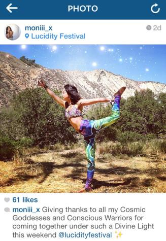 City College student Monica Davis, 20, posts an Instagram picture taken of her wearing leggings designed by art student Marty Leyhe, the weekend of April 10, at Live Oak Campground in the mountains of Santa Barbara County. 'Humans are walking pieces of art,' says Davis. 'Why fit in when you can stand out?' Photo Courtesy of Monica Davis.