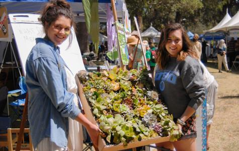 City College students Marisa Merola (left) and Sofia Silva display a sample of a green wall they are building in their Environmental Studies class, 'Projects in Sustainability,' Sunday, April 19, at the Santa Barbara Earth Day Festival in Alameda Park. The completed green wall will consist of different types of plants that hang vertically and will be displayed in the Luria Library at City College.