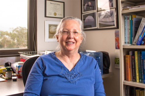 Lindsey Bramlett-Smith sits in her office on May 8, 2015 at City College in Santa Barbara, Calif. She has taught at City College for 20 years and is retiring on May 15.