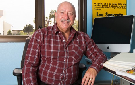 Lou Spaventa has taught at City College for 14 years and is finally retiring after this semester, Thursday, May 7, 2015, in Santa Barbara, Calif.