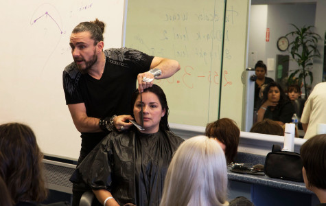 Cosmetology students learn from notable French hairstylist
